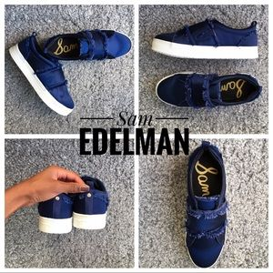 Sam eldelman Poseidon blue satin Levine sneaker